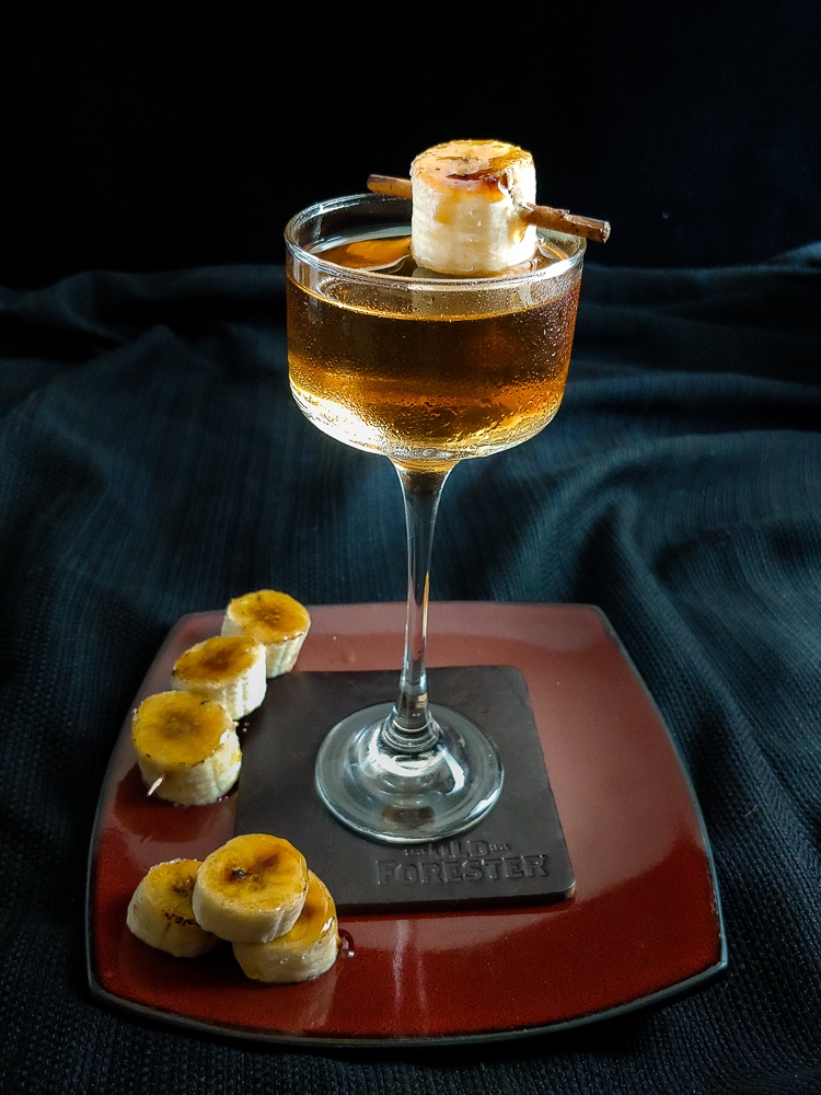 cocktail with a banana garnish