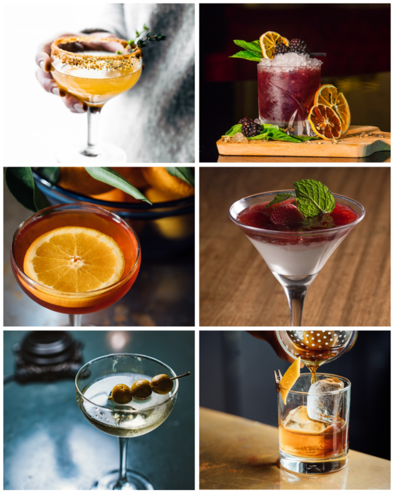 six cocktails in a grid