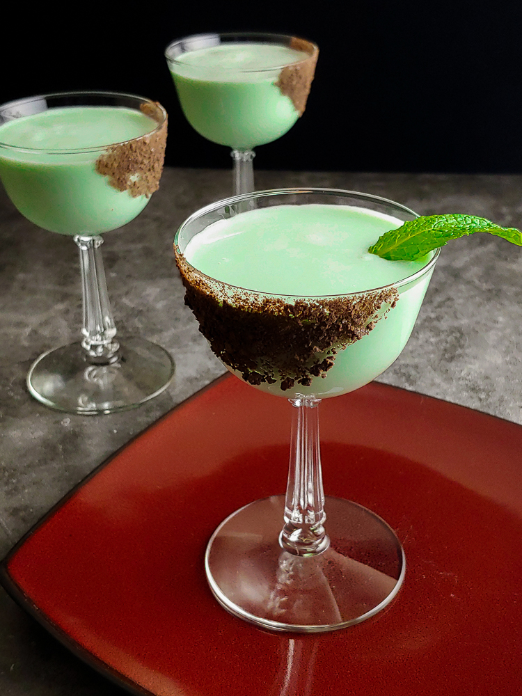 St Patrick's Day Cocktail, green with chocolate garnish