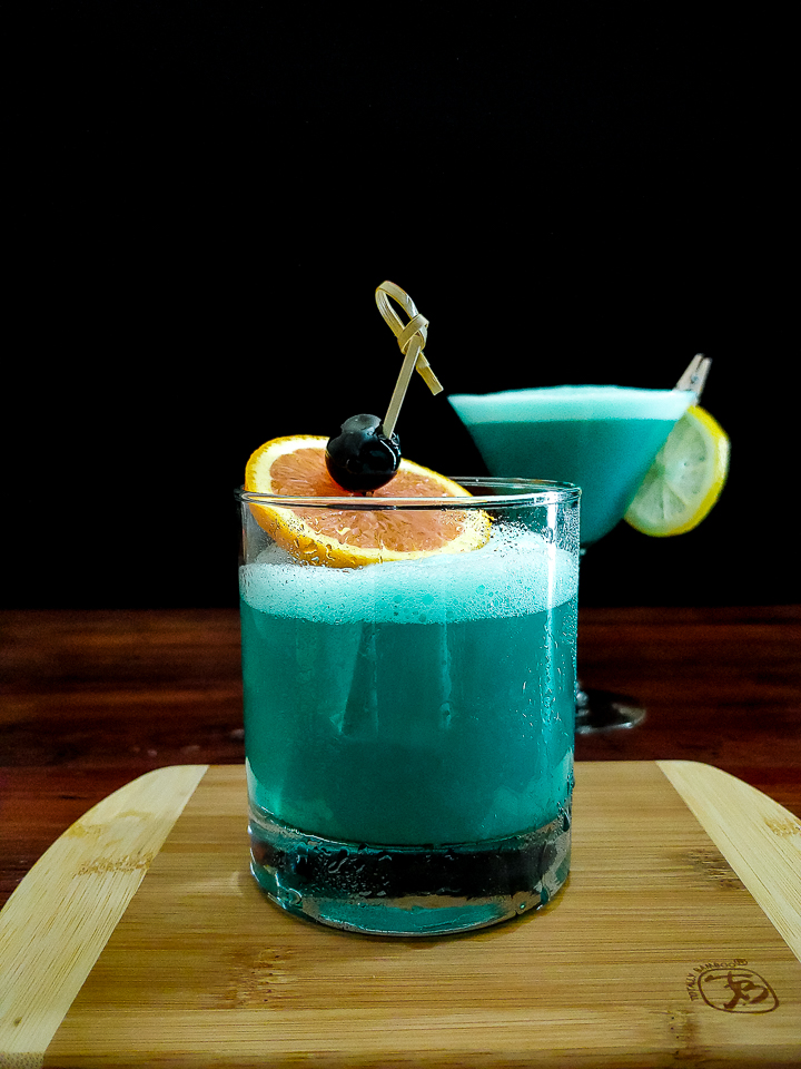 blue whiskey sour cocktail