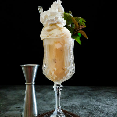 root beer float in cocktail glass