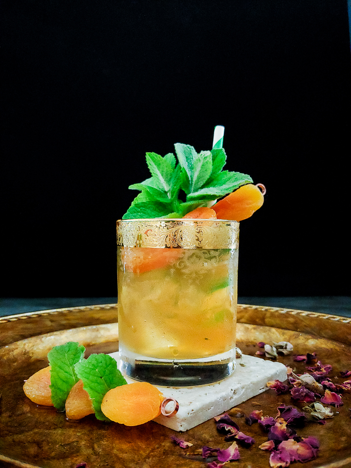 julep cocktail with apricot and mint garnish