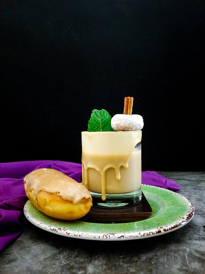long john donuts, cocktail with donut garnish