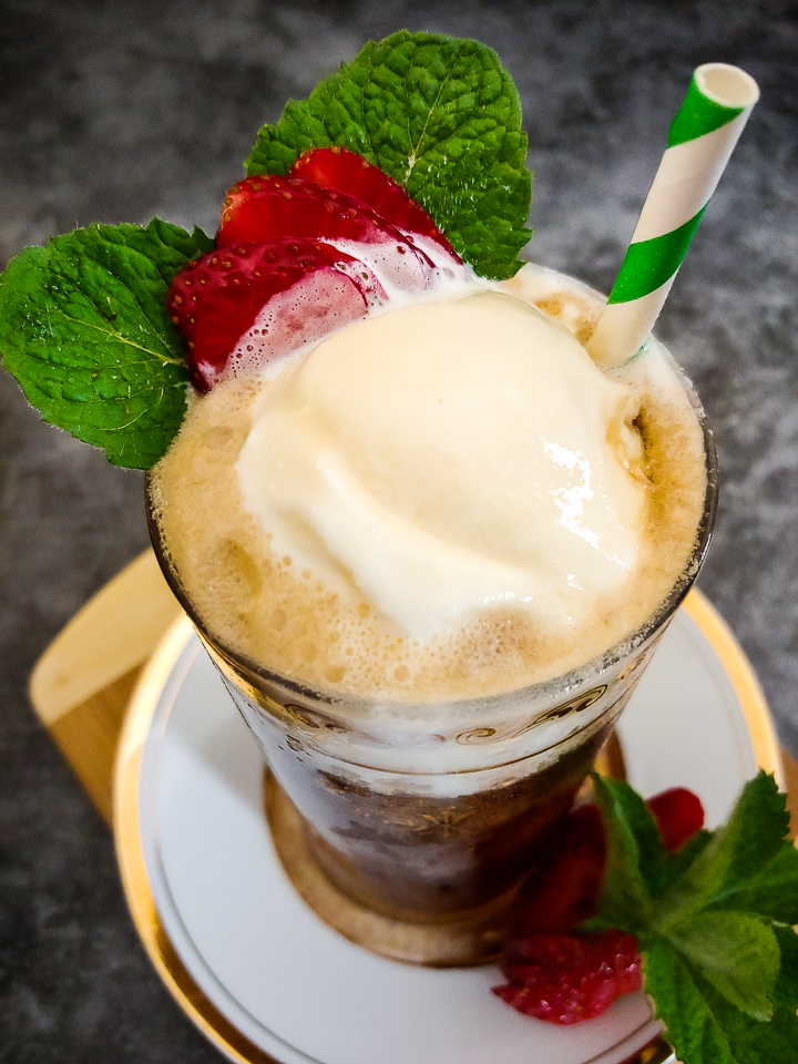 root beer float with mint and strawberry