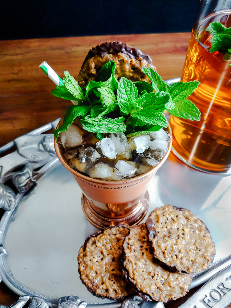 mint julep on silver tray with pecan lace cookies