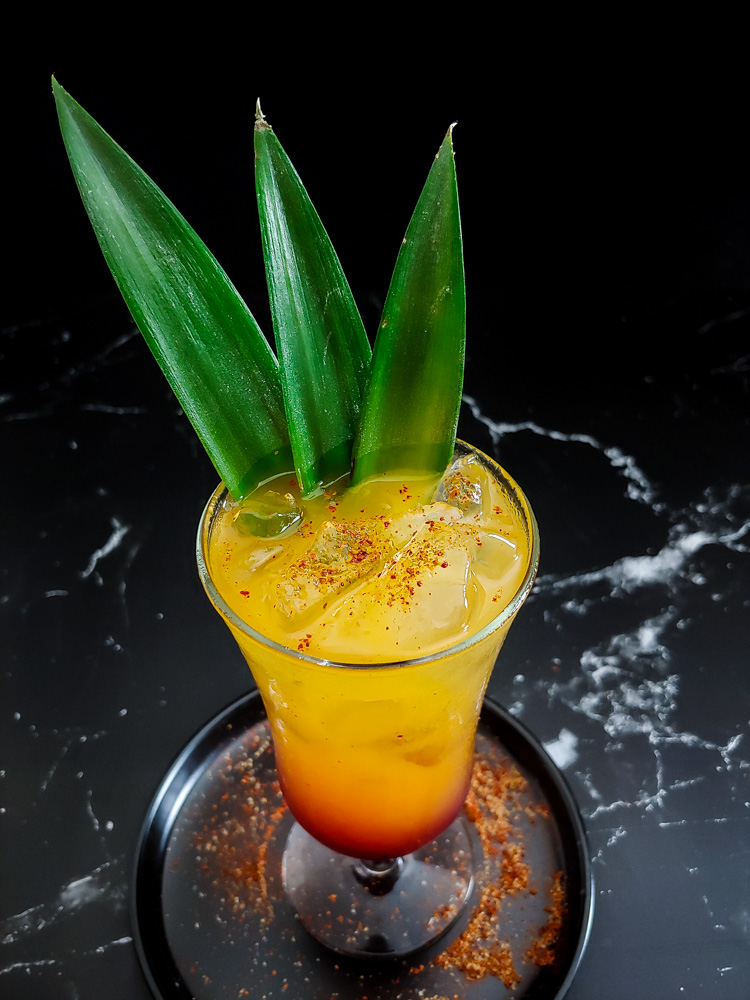 smoky tequila sunrise photo with cocktail gradient from yellow to red, with red powder and green frond garnish