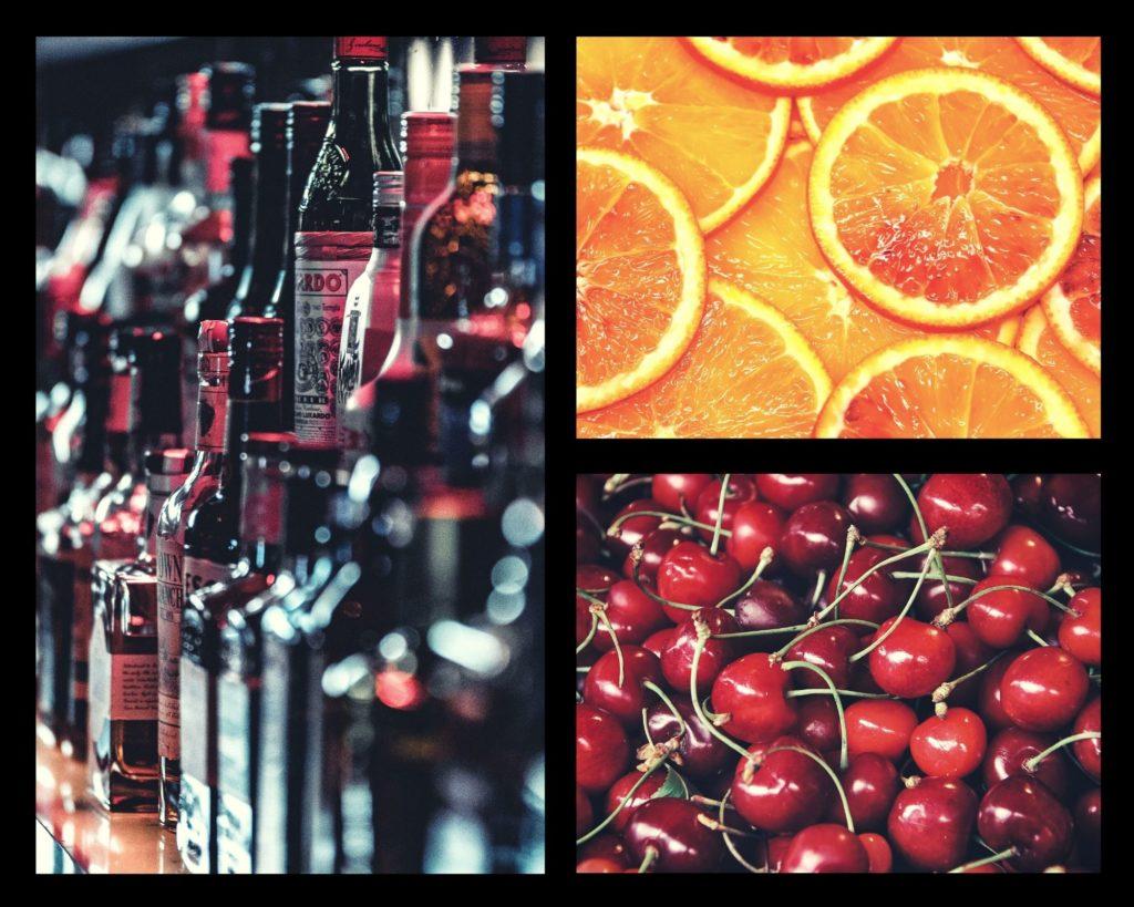Image of liquor bottles, oranges and cherries, collage