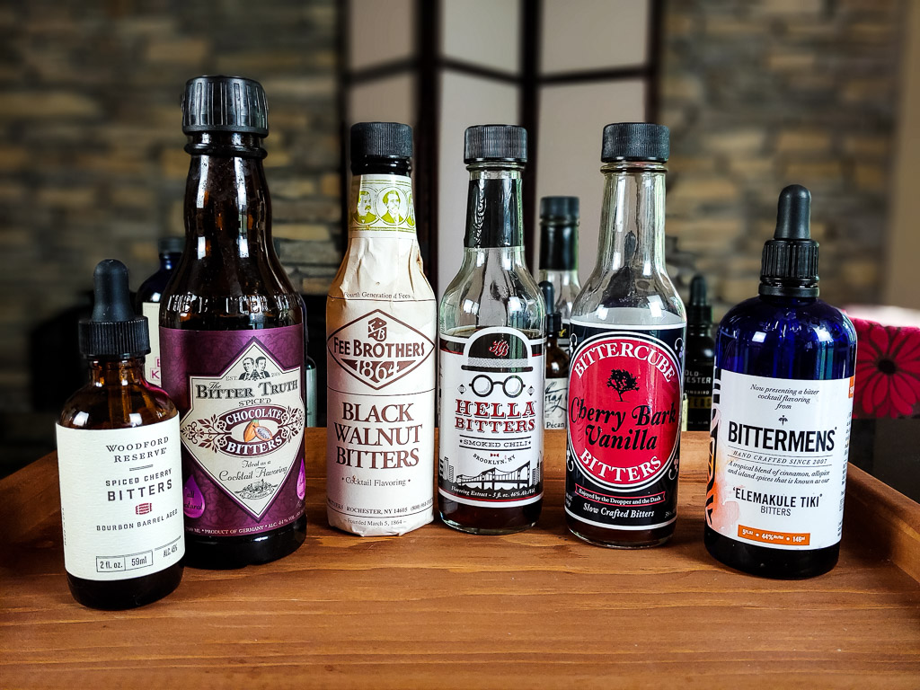 set of 6 bitters for intermediate cocktail creation at home