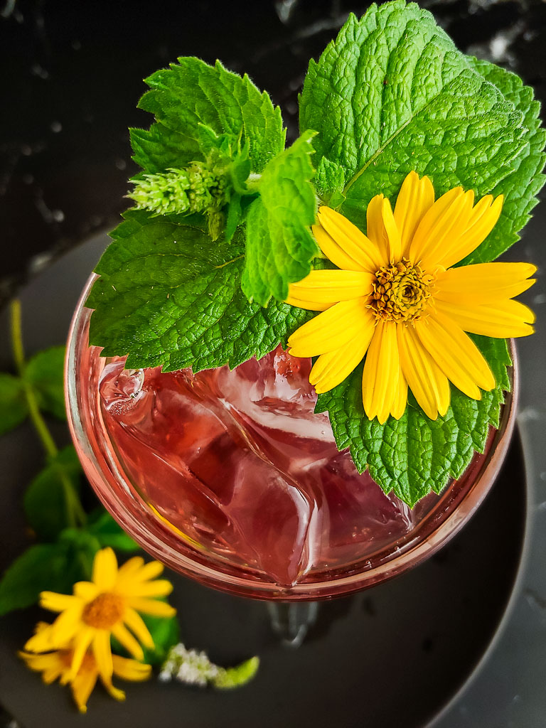 magenta cocktail garnished with candied ginger and hibiscus flower