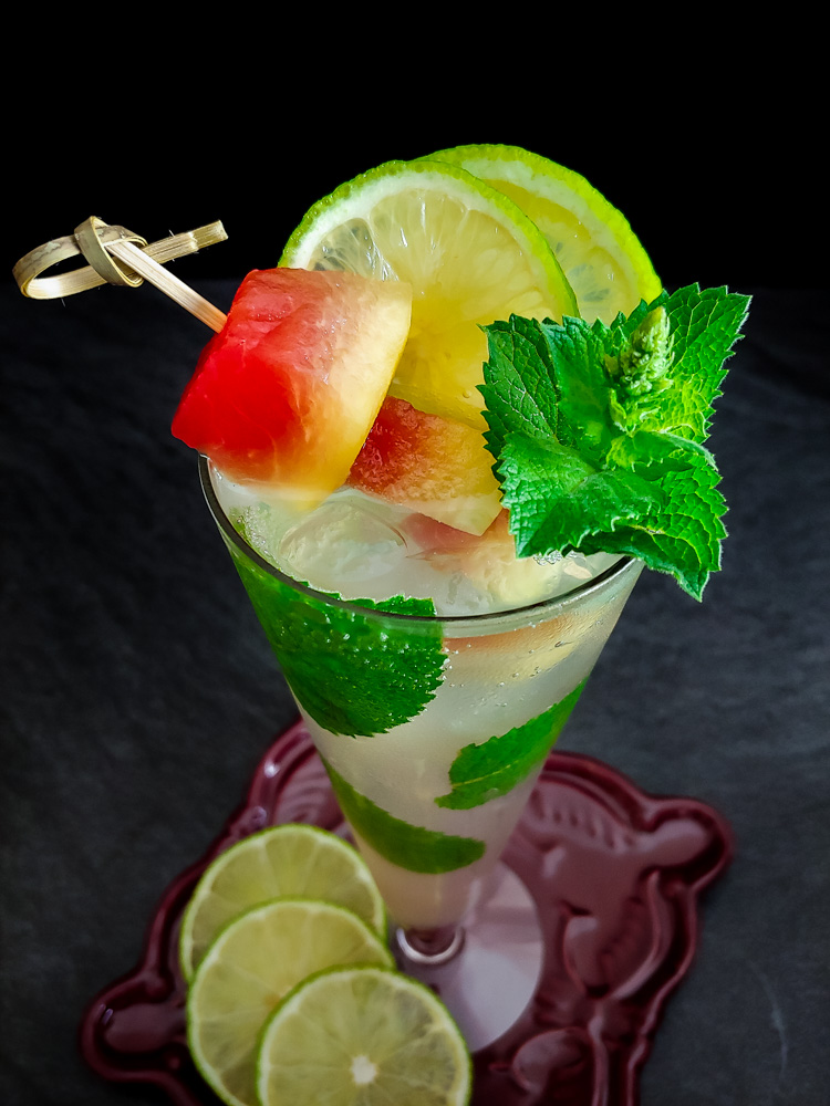 watermelon mojito with rum, lime and mint garnish