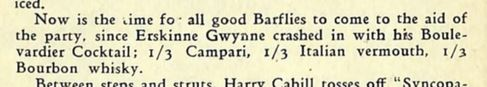 except from book describing Boulevardier recipe
