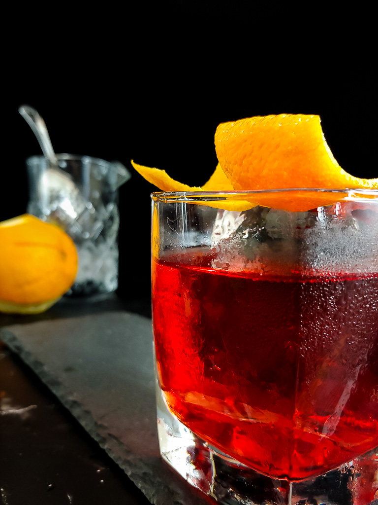 Boulevardier on the rocks with orange twist