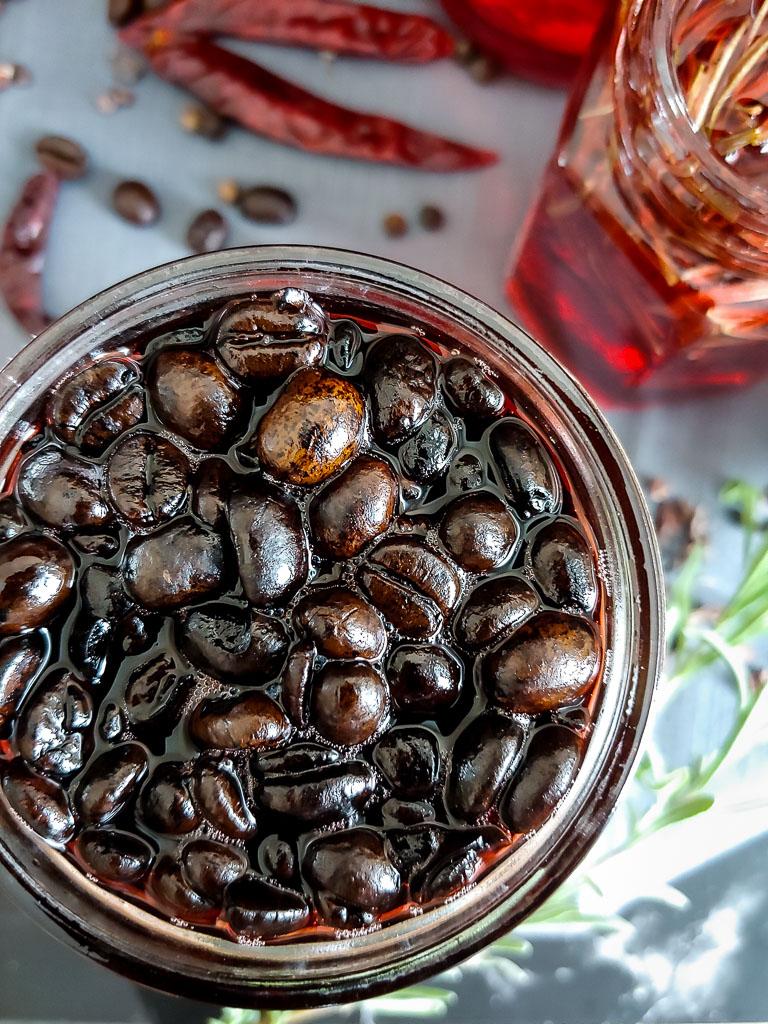 coffee campari infusion in small glass jar