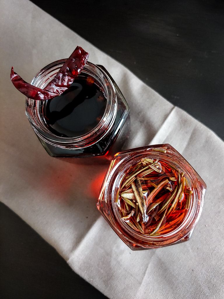 campari infusions in two small bottles
