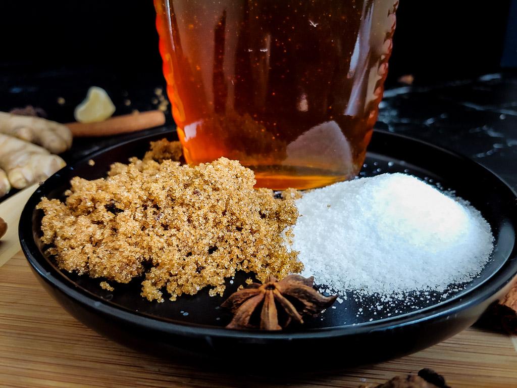 brown sugar, honey, white sugar for Fall Simple Syrup