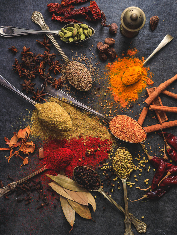 Assorted spices for infusion for simple syrups