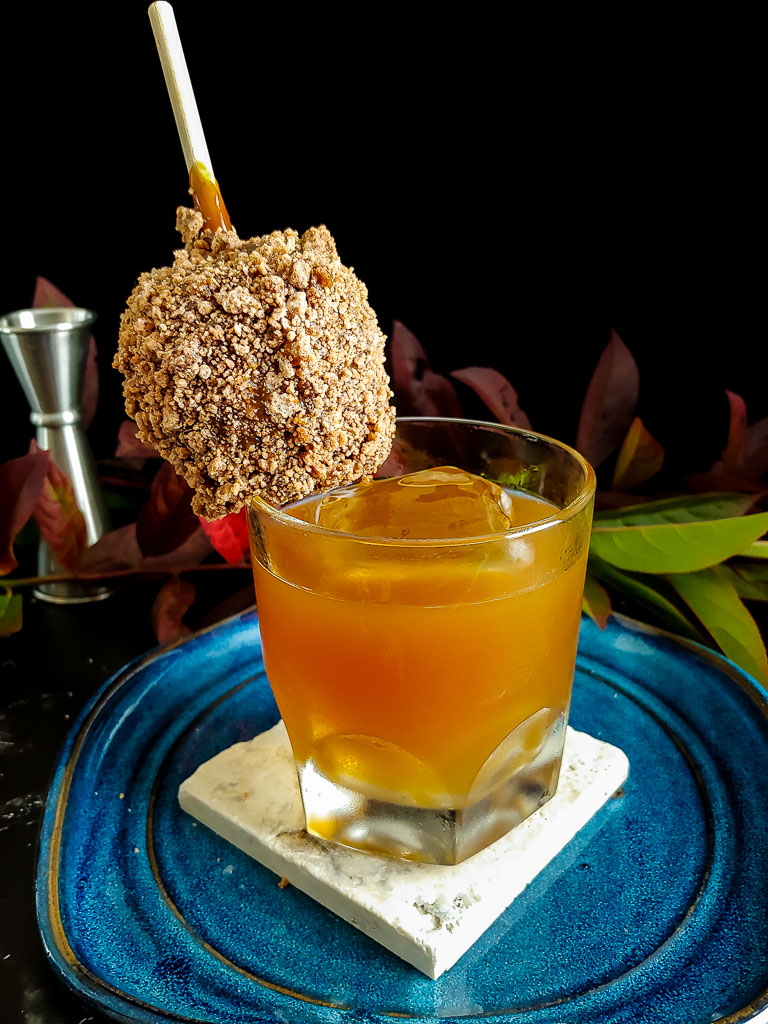 Caramel Apple Old Fashioned with caramel apple garnish