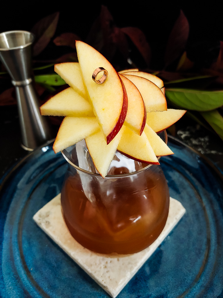Caramel Apple Old Fashioned cocktail with apple fan