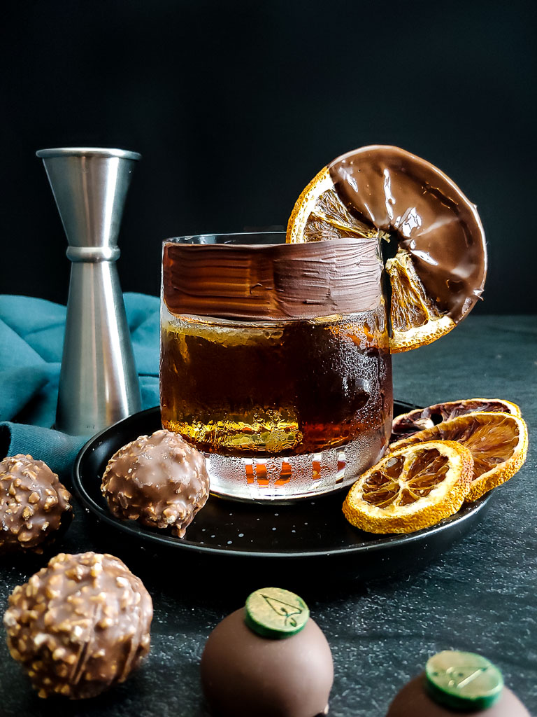 Chocolate Old Fashioned with chocolate rim and chocolate dipped orange garnish