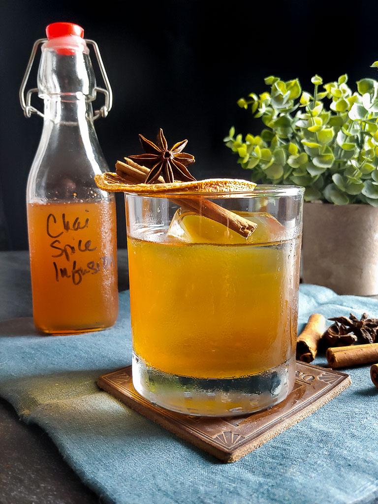 Fall Rye Amaro cocktail with orange, cinnamon, star anise garnish