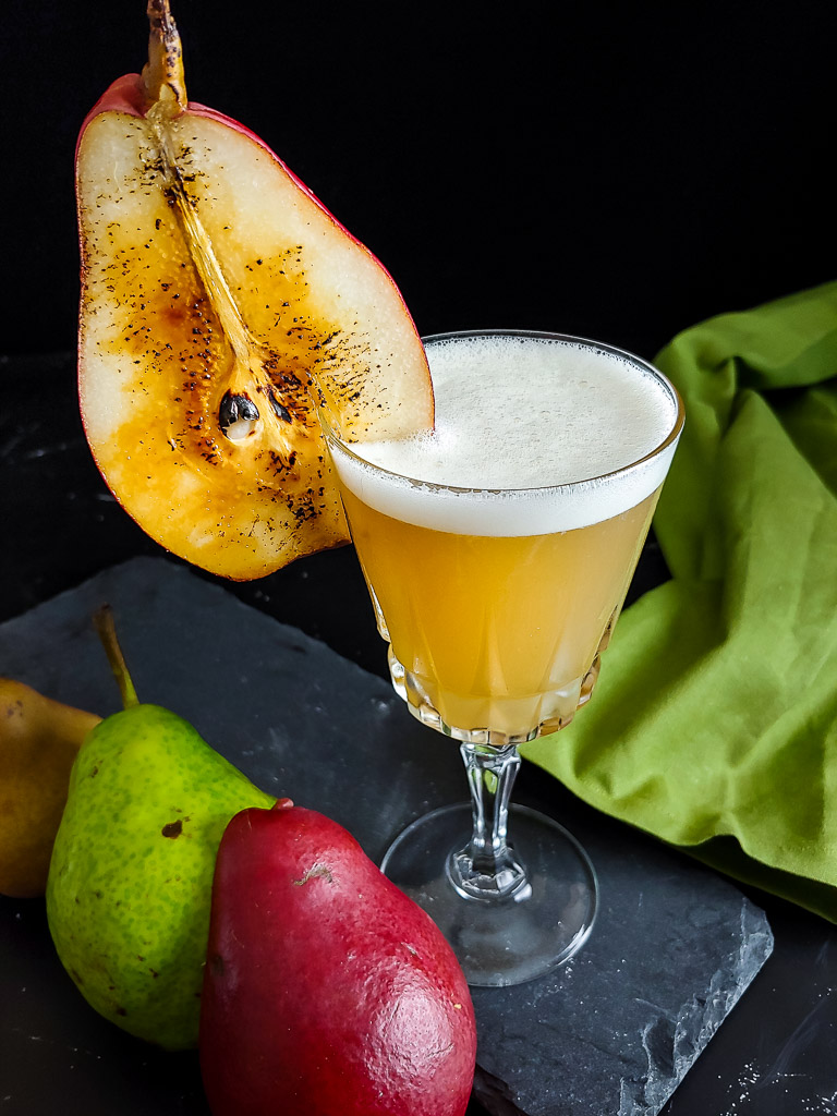 Perfect Fall Pear Whiskey Sour - torched pear slice garnish on a whiskey sour