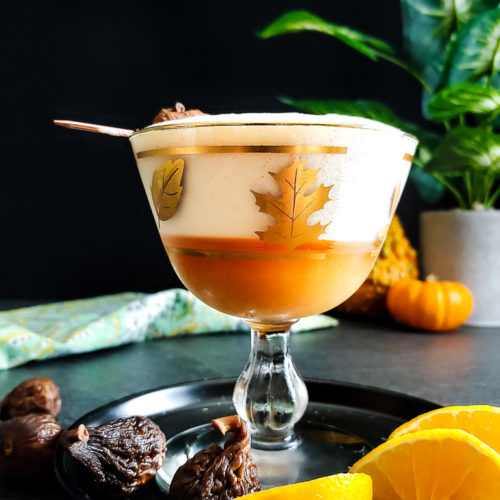 Mandarin Orange Fig Sour - foam-topped sour with fig and orange garnish