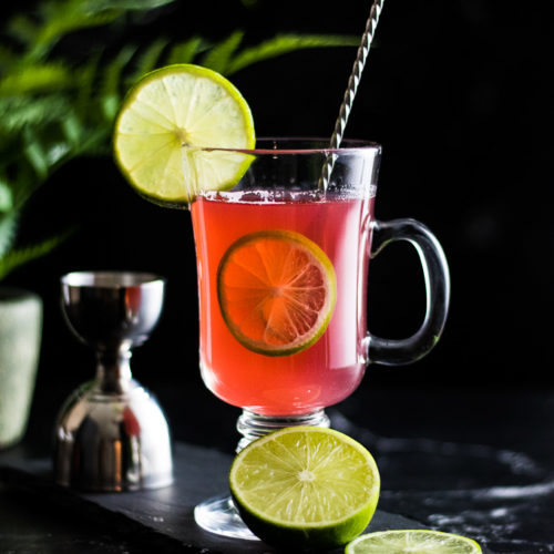 Gin Toddy - view of pink toddy with lime garnish