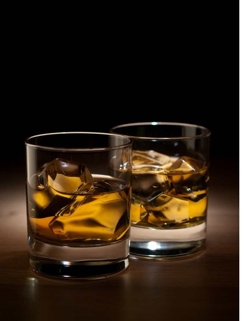 Bourbon on ice, two glasses