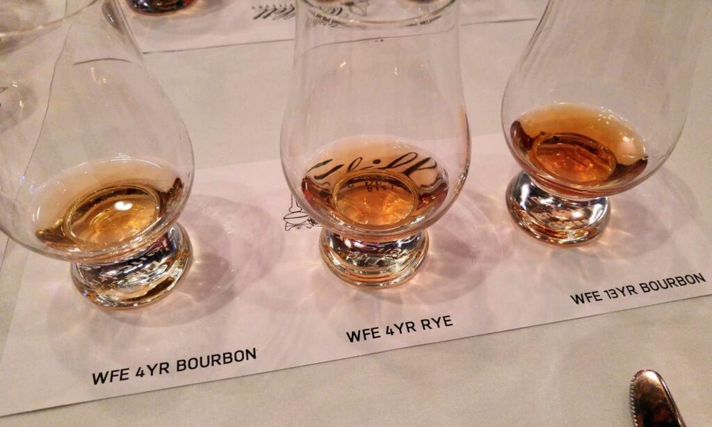 flight of willett bourbon in glencairns
