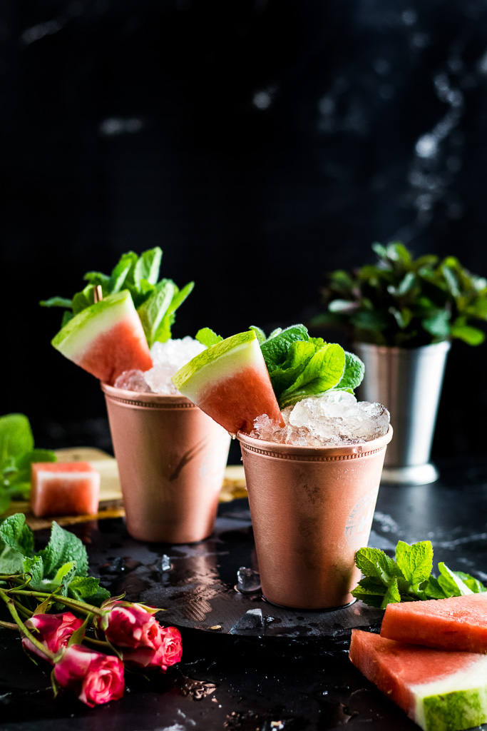 Watermelon Mint Juleps - in copper julep cups garnished with watermelon spears and mint