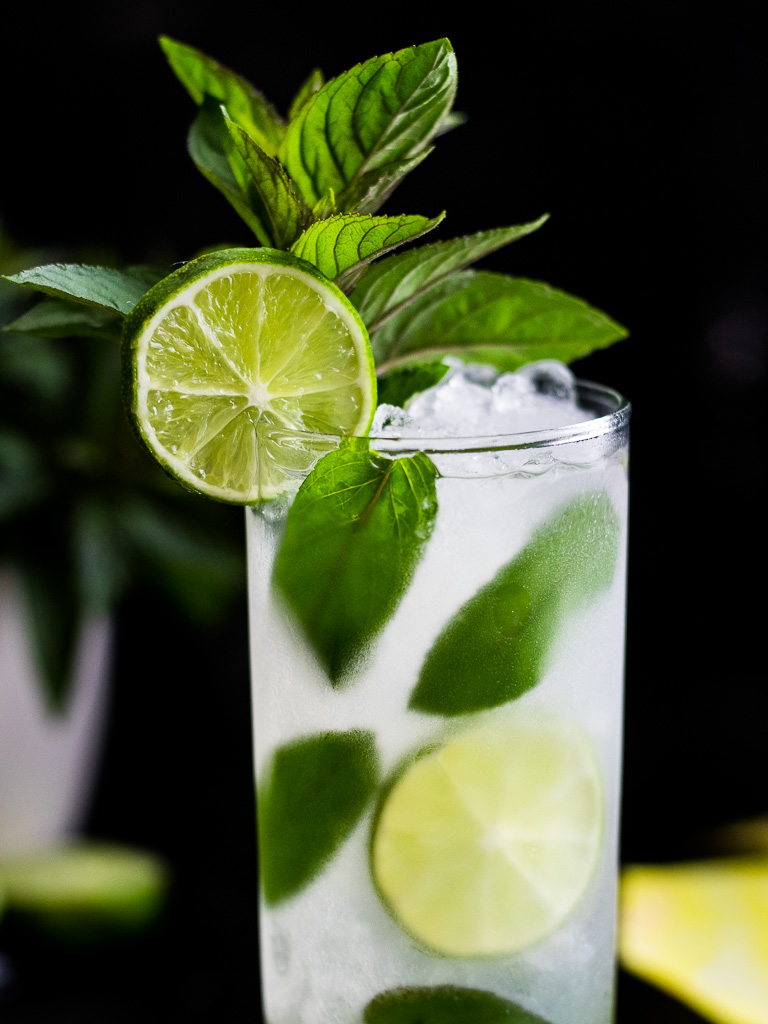 Chocolate Mojito in a frosty highball glass with mint and lime garnish
