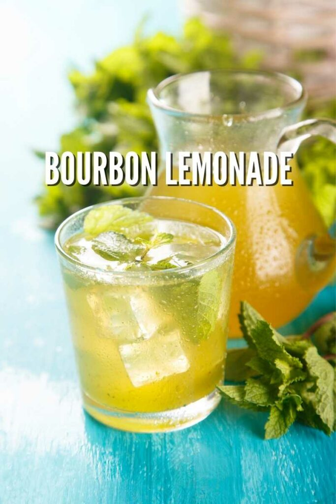 bourbon lemonade with a pitcher of lemonade and mint on a blue background