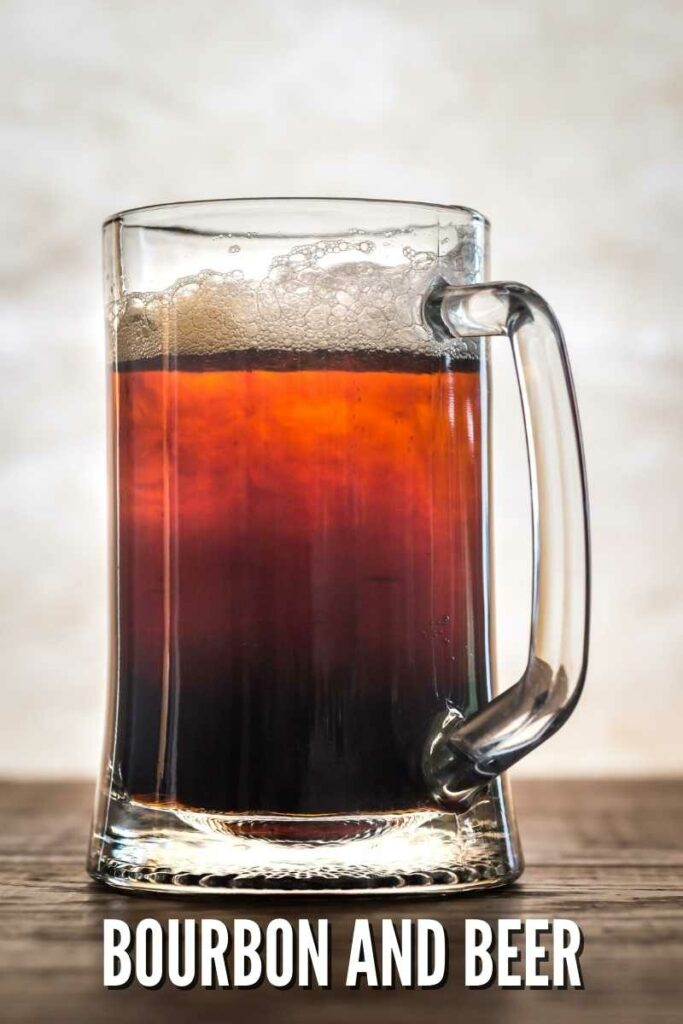 amber beer mug on a wooden table against a light background