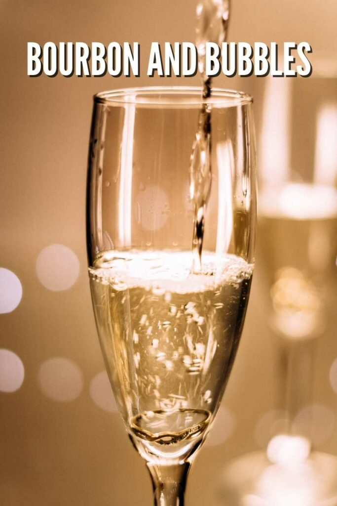 champagne being poured into a flute against a white background with text