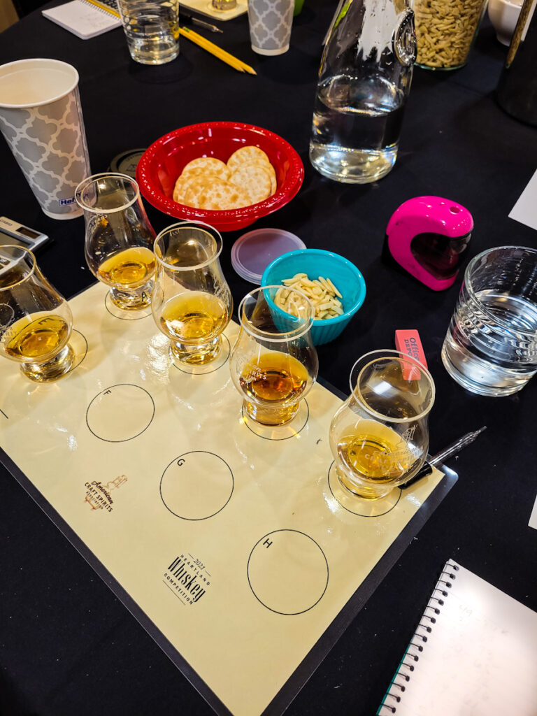 Whiskey Judge - whiskey in a glencairn glass with watch glass atop it on a tasting mat with supplies for the tasting