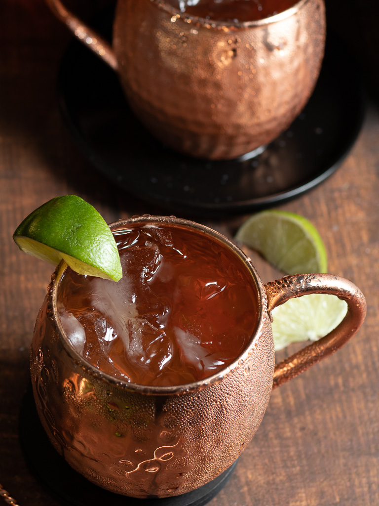 Kentucky Mule Mocktail in copper mug with lime wedge garnish