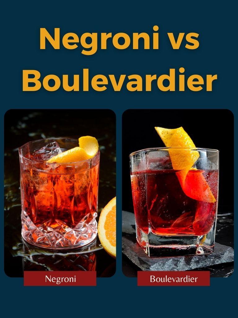 Picture of a negroni cocktail and a boulevardier with Negroni vs Boulevardier as the title