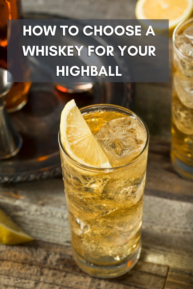 Top down view of a whiskey and ginger ale highball